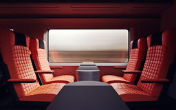 Interior Inside First Class Cabin Modern Speed Express Train.Nobody Red Chairs Window.Comfortable Seat and Table. Business Travel. 3D rendering.High Textured Royalty Free Stock Photo