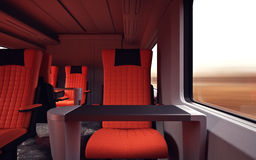 Interior Inside First Class Cabin Modern Speed Express Train.Nobody Red Chairs Window.Comfortable Seats and Table. Business Travel. 3D rendering.High Textured Stock Images