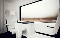 Interior Inside First Class Cabin Modern Speed Express Train.Nobody White Leather Chair Window.Comfortable Seat Table. Business Travel.3D rendering.High Royalty Free Stock Photo