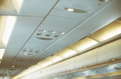 Interior inside of the plane. Interior inside of the plane with passengers Royalty Free Stock Photos