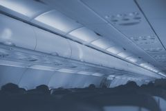 Interior inside of the plane. Interior inside of the plane with passengers Royalty Free Stock Image