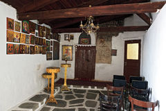 The interior inside a small chapel in Greece Stock Images