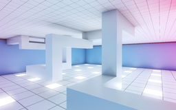 Interior with installation and colorful illumination 3d Royalty Free Stock Photos