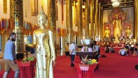 Interior of Intakhin Pillar Vihara, Wat Chedi Luang, Chiang Mai, Thailand stock video