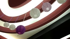 Interior and interesting spheres on ceiling stock video footage