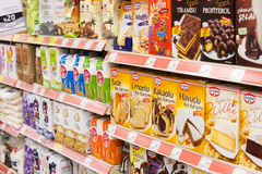 Interior interior of stiles and refrigerators with products of Migros supermarket in Marmaris, Turkey Stock Photography