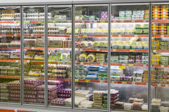 Interior interior of stiles and refrigerators with products of Migros supermarket in Marmaris, Turkey Royalty Free Stock Image