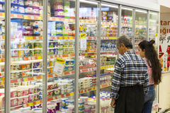 Interior interior of stiles and refrigerators with products of Migros supermarket in Marmaris, Turkey Stock Photo