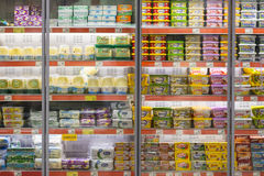Interior interior of stiles and refrigerators with products of Migros supermarket in Marmaris, Turkey Stock Photos