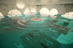 Interior inundado de la oficina Fotografía de archivo