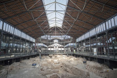 Interior, iron ceiling and archaeological site of El Born Cultural and Memorial Center, cultural space, housed in a building that Stock Photography