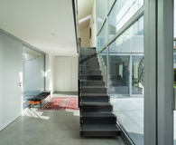 Interior, iron staircase of a modern house stock image