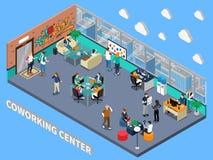 Interior isométrico de centro de Coworking ilustración del vector