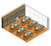 Interior isométrico de la biblioteca de la librería ilustración del vector