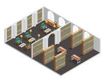 Interior isométrico de la librería y de la biblioteca stock de ilustración