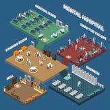 Interior isométrico de varios pisos del hospital mental ilustración del vector