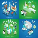 Interior isométrico del hospital Exploración médica de MRI, sala de operaciones con los doctores, proceso de Fluorography, ciruja stock de ilustración