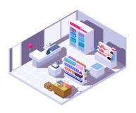 Interior isométrico do supermercado mercearia 3d com produtos alimentares ilustração royalty free