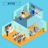 Interior isométrico moderno de la oficina Hombre de negocios en el trabajo Fotografía de archivo