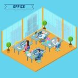 Interior isométrico moderno de la oficina Hombre de negocios en el trabajo Imagen de archivo libre de regalías