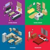 Interior Isometric Concept Icons Set Stock Image