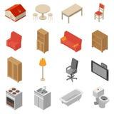 Interior Isometric Icons Set Stock Photo