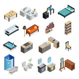 Interior Isometric Objects Set Royalty Free Stock Images