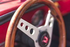 Interior of the Italian classic retro vehicle. vintage cars stock image