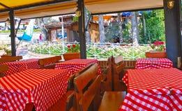 Interior of Italian restaurant stock image