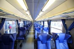 INTERIOR OF AN ITALIAN STATE RAILWAY CAR Royalty Free Stock Image