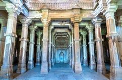 Interior of Jami Masjid, a major tourist attraction at Champaner-Pavagadh Archaeological Park - Gujarat, India Royalty Free Stock Photos