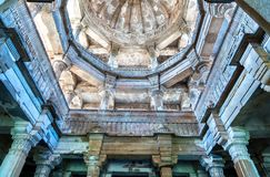 Interior of Jami Masjid, a major tourist attraction at Champaner-Pavagadh Archaeological Park - Gujarat, India Royalty Free Stock Photography