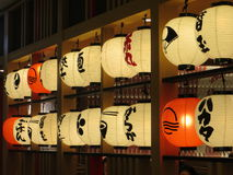 Interior of a Japanese diner. JAKARTA, INDONESIA - July 23, 2017: Paper lanterns of a Japanese restaurant at New Soho Mall Stock Photography
