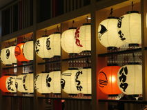 Interior of a Japanese diner. JAKARTA, INDONESIA - July 23, 2017: Paper lanterns of a Japanese restaurant at New Soho Mall Stock Photo