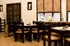 Interior of japanese restaurant, sushi bar Stock Photos