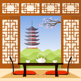 Interior in the Japanese style. Vector. Stock Photos