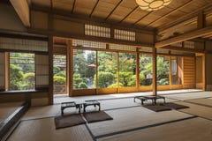 Interior of Japanese tea house with Zen Garden, Kyoto, Japan Stock Photography