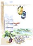 INTERIOR JAPONÉS Foto de archivo libre de regalías