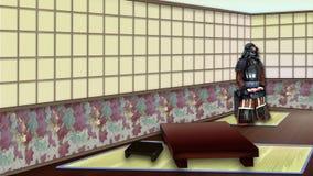Interior japonés tradicional del sitio ilustración del vector