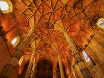 Interior of Jeronimos Monastery in Lisbon Royalty Free Stock Image