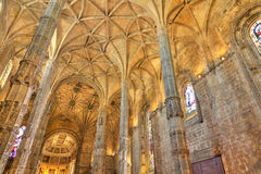 Interior of  Jeronimos Monastery Lisbon, Portugal Royalty Free Stock Photo