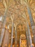 Interior of  Jeronimos Monastery Lisbon, Portugal. Stunning gothic interior of church of Jeronimos Monastery, Lisbon, Portugal Royalty Free Stock Photos