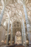 The interior of Jeronimos Monastery, Lisbon, Portugal Royalty Free Stock Photos