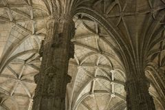 Interior of Jeronimos Monastery, Portugal. Stock Photos