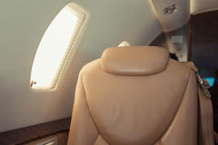 Interior of jet plane airplane in sky Royalty Free Stock Photography