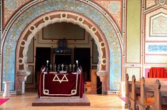 Interior of Jewish synagogue and altar Sarajevo Bosnia Hercegovina Stock Photos