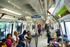 Interior of Kawasaki subway carriage in Singapore. Royalty Free Stock Photos