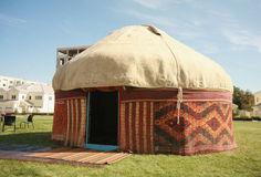 Interior of kazakh nomad's yurt. National symbol of Kazakhstan. Tradition of kazakh nomads Royalty Free Stock Image