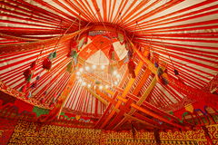 Interior of Kazakhstan Yurt. Wide angle view of the interior of Kazakhstan Yurt Stock Photo