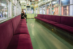 Interior of Keifuku Randen Tram Line at Arashiyama Randen Statio Royalty Free Stock Images